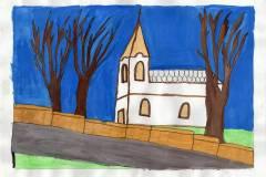 Anna Patakfalvi - The old village church in Pesthidegkút at night